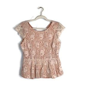 MAEVE blush / white lace tank top size M
